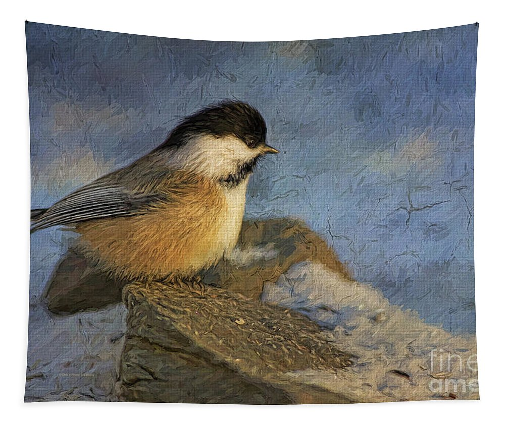 Deborah Benoit Tapestry featuring the painting Chickadee Winter Perch by Deborah Benoit
