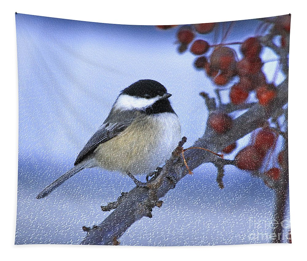 Bird Tapestry featuring the photograph Chickadee With Craquelure by Deborah Benoit