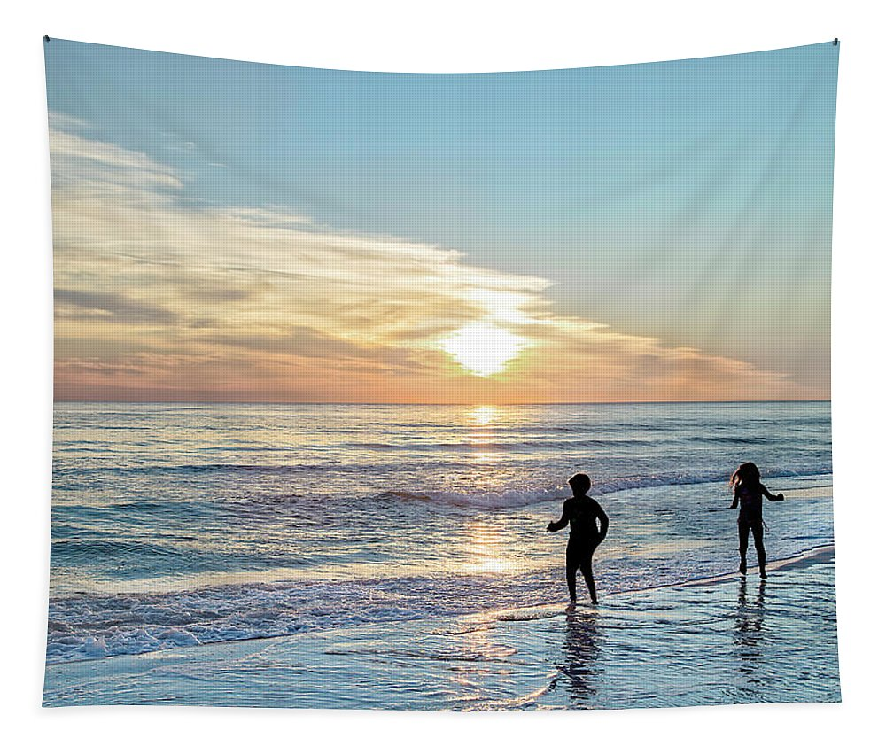 Sunset Tapestry featuring the photograph Children At Play On A Florida Beach by Kay Brewer