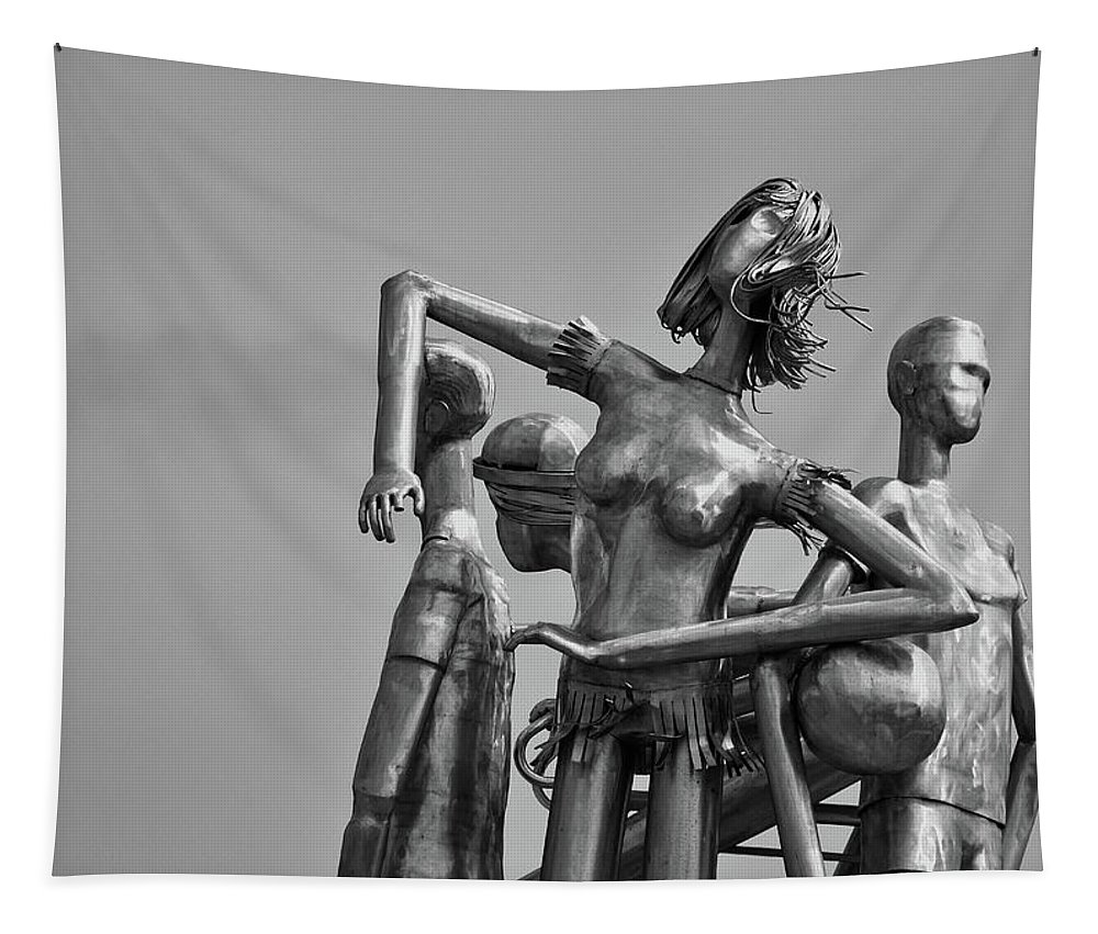 Statue Tapestry featuring the photograph Children At Play Statue B W by Maria Keady
