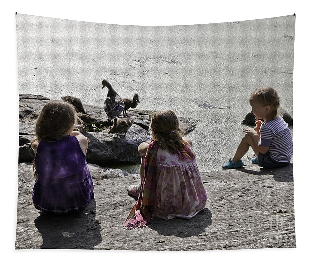 Children Tapestry featuring the photograph Children At The Pond 2 by Madeline Ellis