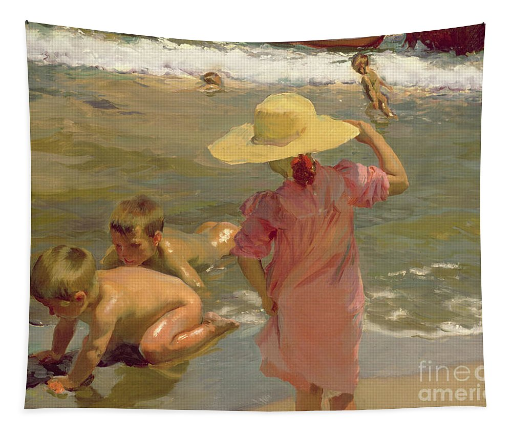 Children Tapestry featuring the painting Children On The Seashore by Joaquin Sorolla y Bastida