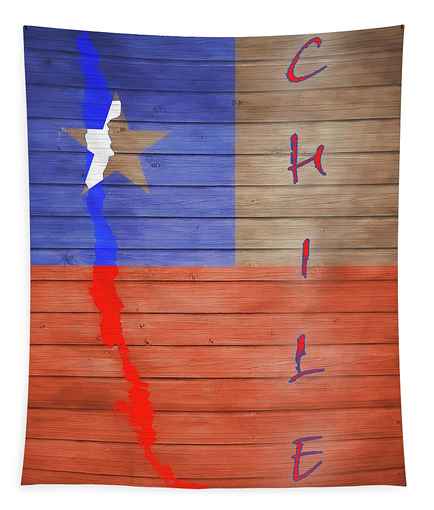 Chile Rustic Map On Wood Tapestry featuring the mixed media Chile Rustic Map On Wood by Dan Sproul