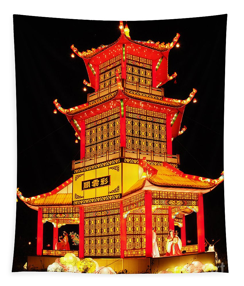 Lantern Tapestry featuring the photograph Chinese Lantern Festival British Columbia Canada 8 by Bob Christopher