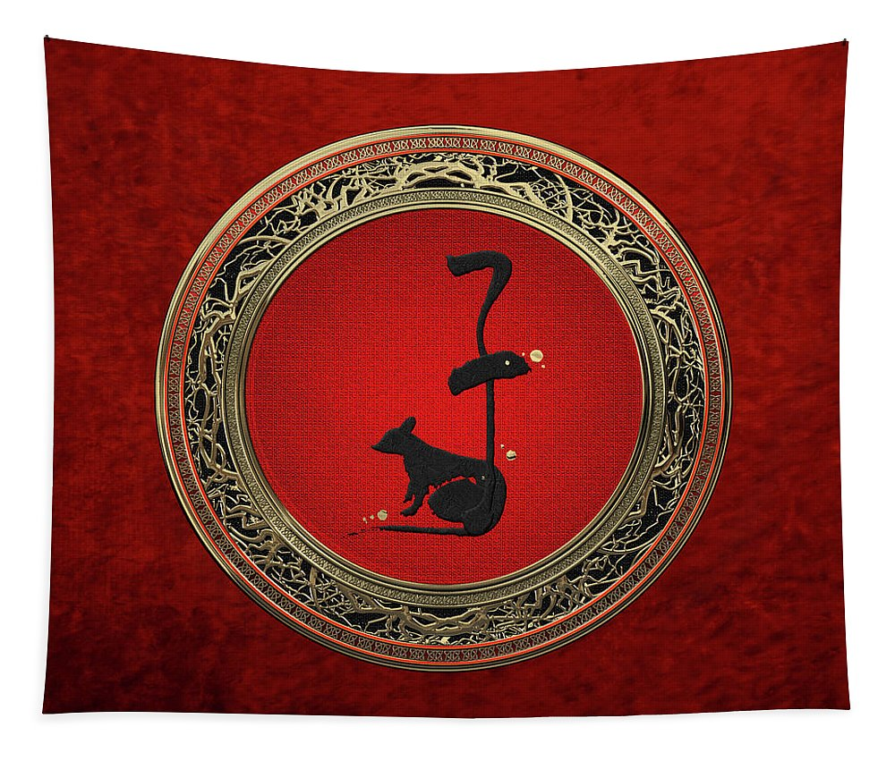 'zodiac' Collection By Serge Averbukh Tapestry featuring the digital art Chinese Zodiac - Year Of The Rat On Red Velvet by Serge Averbukh