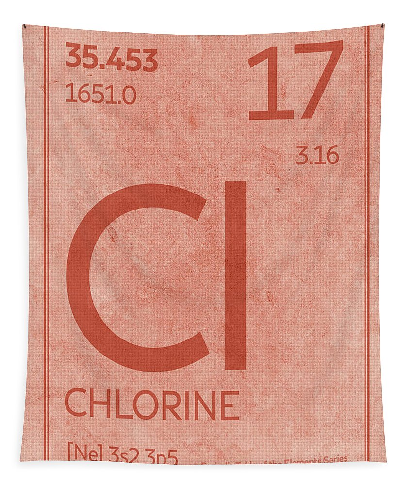 Chlorine Tapestry featuring the mixed media Chlorine Element Symbol Periodic Table Series 017 by Design Turnpike
