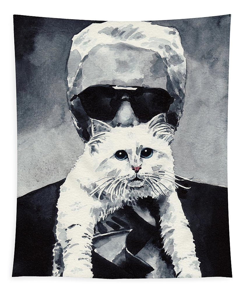 Coco Chanel Tapestry featuring the painting Choupette Cat And Karl Lagerfeld by Laura Row