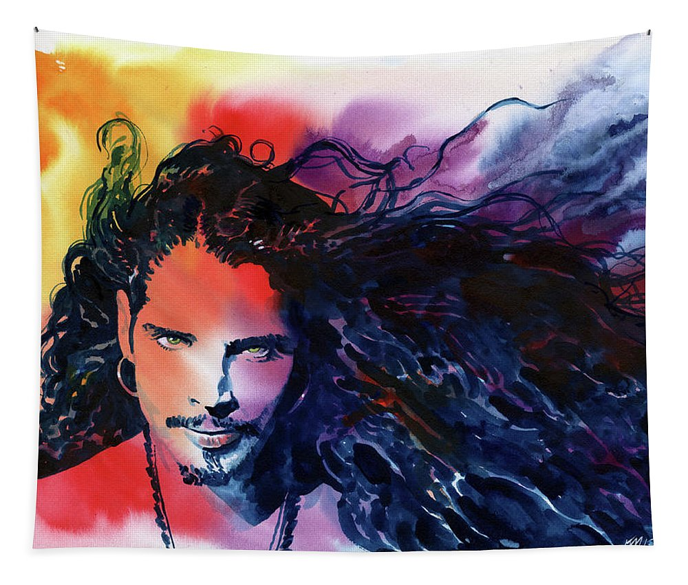 Soundgarden Tapestry featuring the painting Chris Cornell by Ken Meyer jr