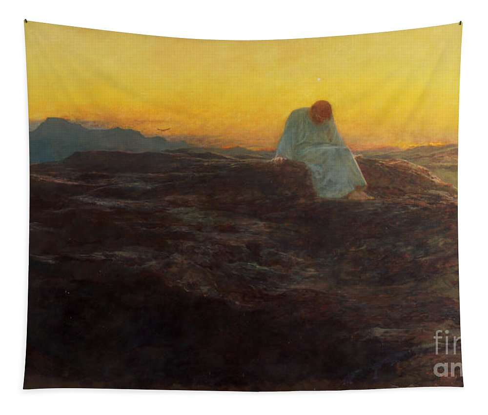 Christ In The Wilderness Tapestry featuring the painting Christ In The Wilderness by Briton Riviere