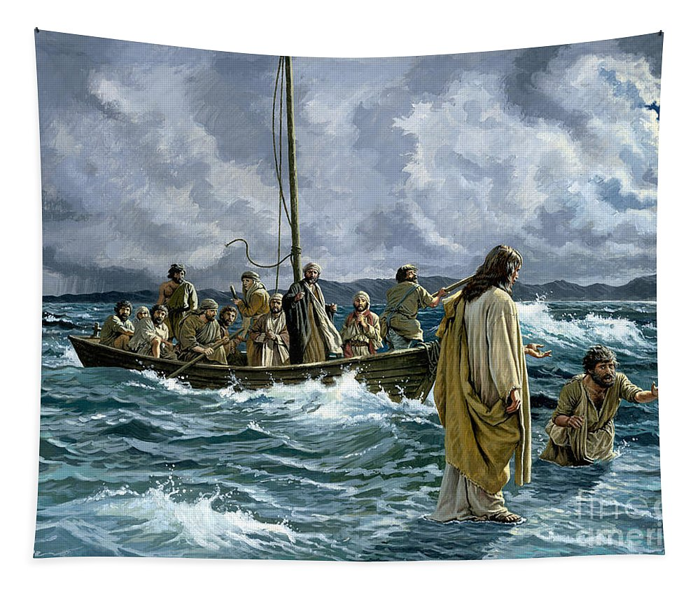 Christ Tapestry featuring the painting Christ Walking On The Sea Of Galilee by Anonymous