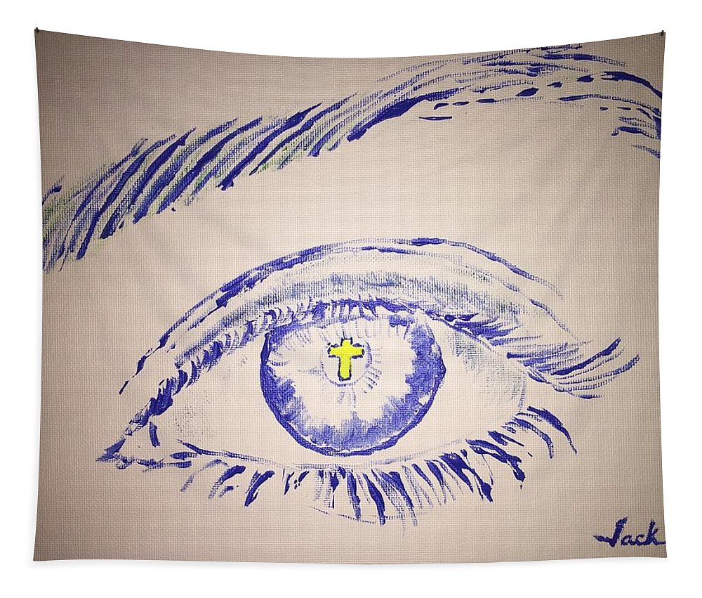 Cross Tapestry featuring the painting Christian Eye by Jack Bunds