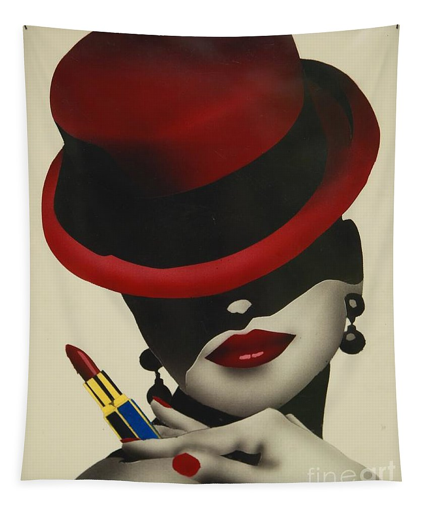 Christion Dior Red Hat Lady Tapestry featuring the painting Christion Dior Red Hat Lady by Jacqueline Athmann