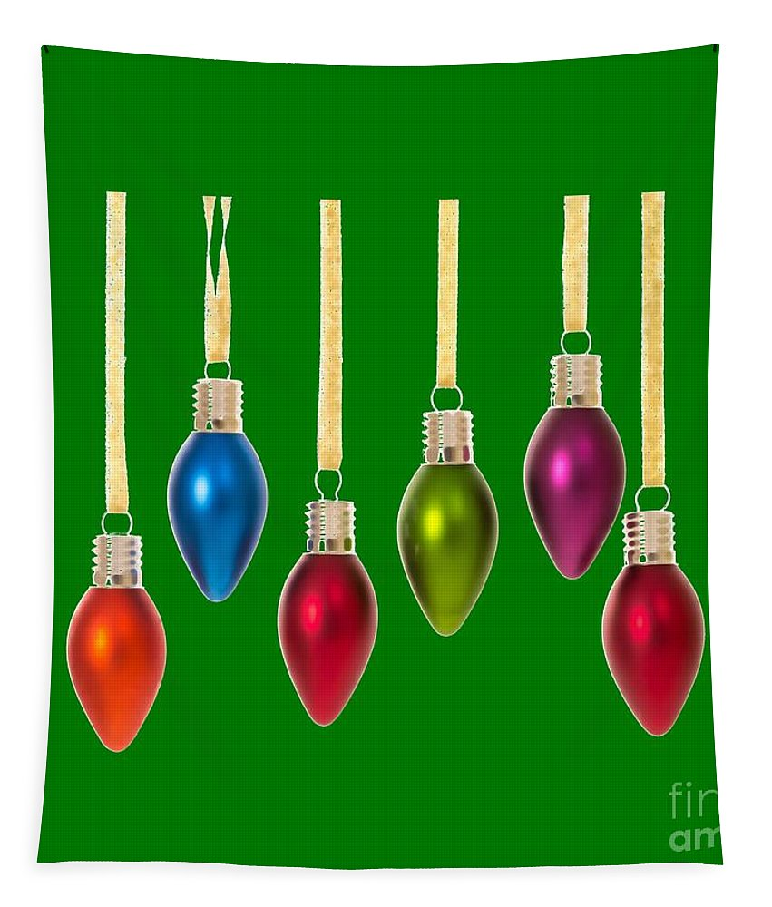 Christmas Tapestry featuring the digital art Christmas Baubles Tee by Edward Fielding