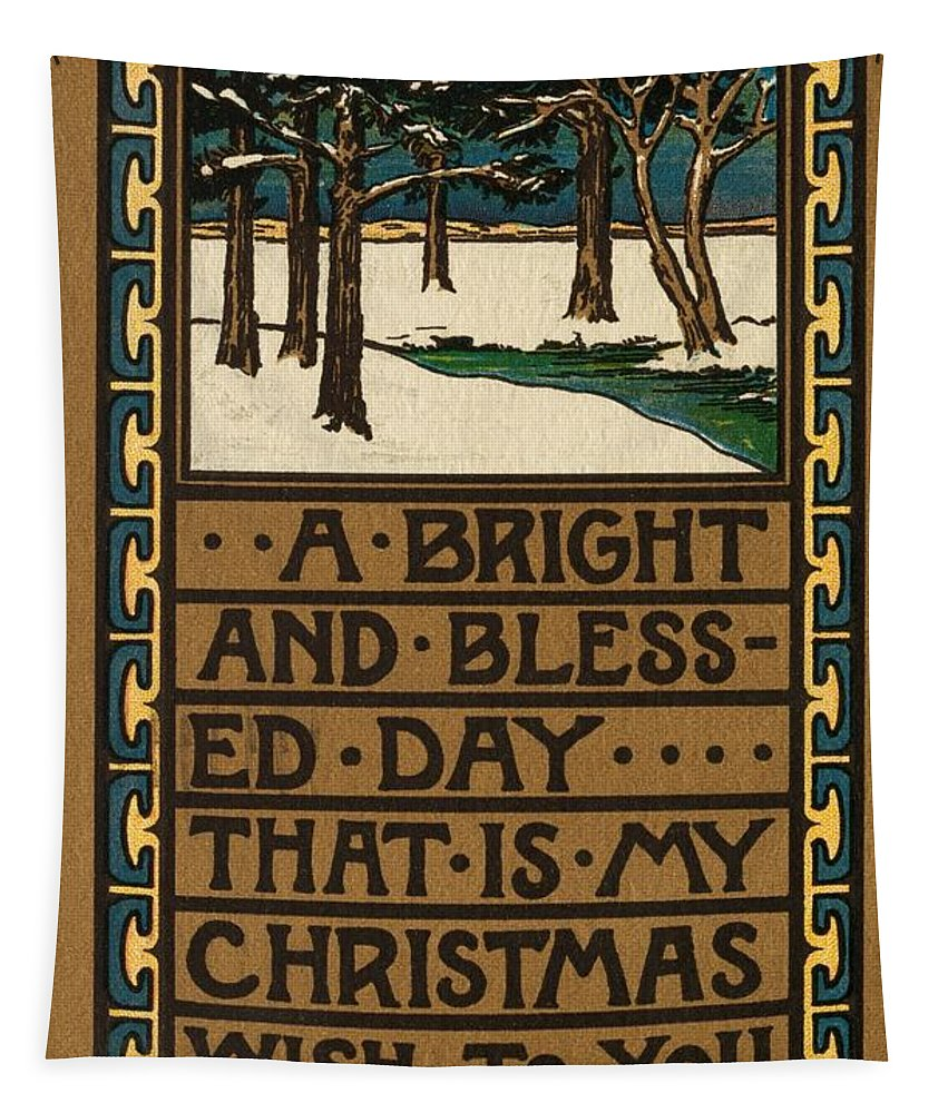 Christmas Card Tapestry featuring the painting Christmas Card by American School
