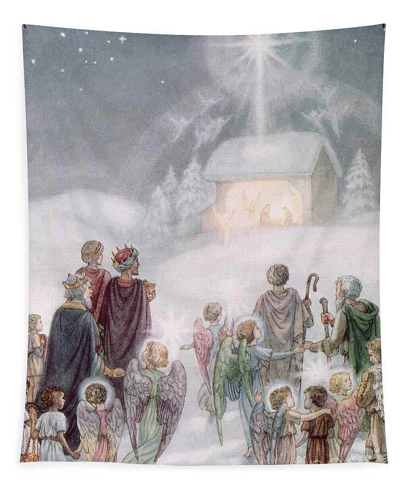 Angels; Nativity; Star; Three; Kings; Wings; Bethlehem Tapestry featuring the painting Christmas Card by Daphne Allan