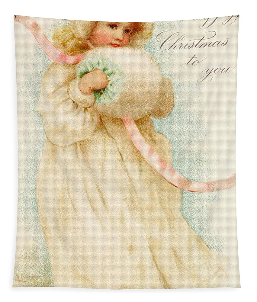 Christmas Card Depicting A Girl With A Muff (colour Litho) Victorian; Child; Female; Bonnet; Fur; Girl Tapestry featuring the painting Christmas Card Depicting A Girl With A Muff by English School