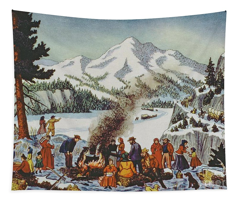 Christmas Card Tapestry featuring the painting Christmas Card Depicting A Pioneer Christmas by American School