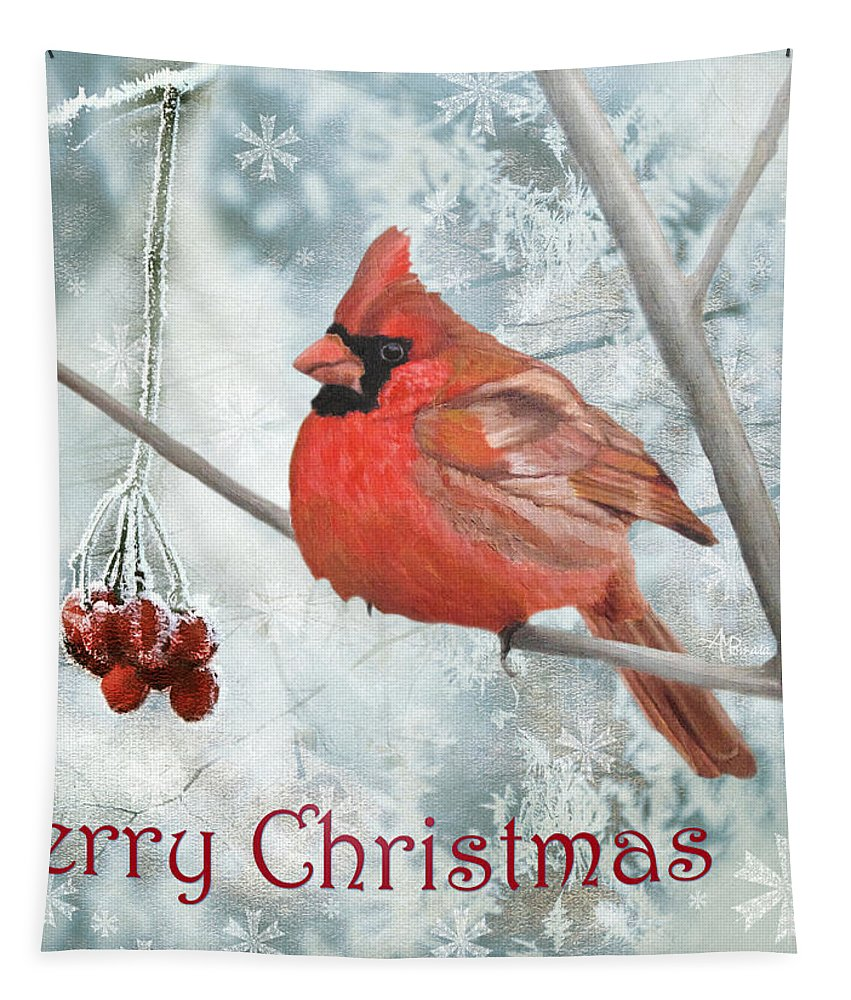 Cardinal Tapestry featuring the painting Christmas Cardinal by Angeles M Pomata