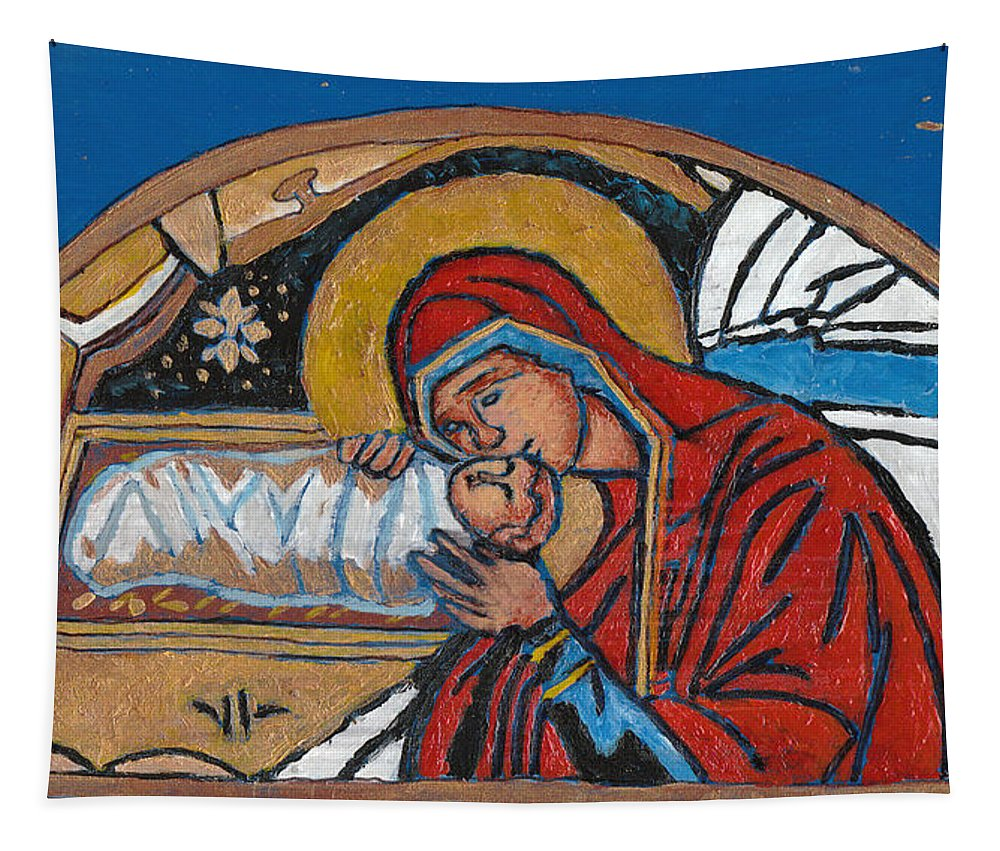 Christmas Tapestry featuring the painting Christmas Icon 1 by William Bowers