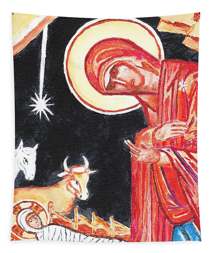 Christmas Tapestry featuring the painting Christmas Icon 2 by William Bowers