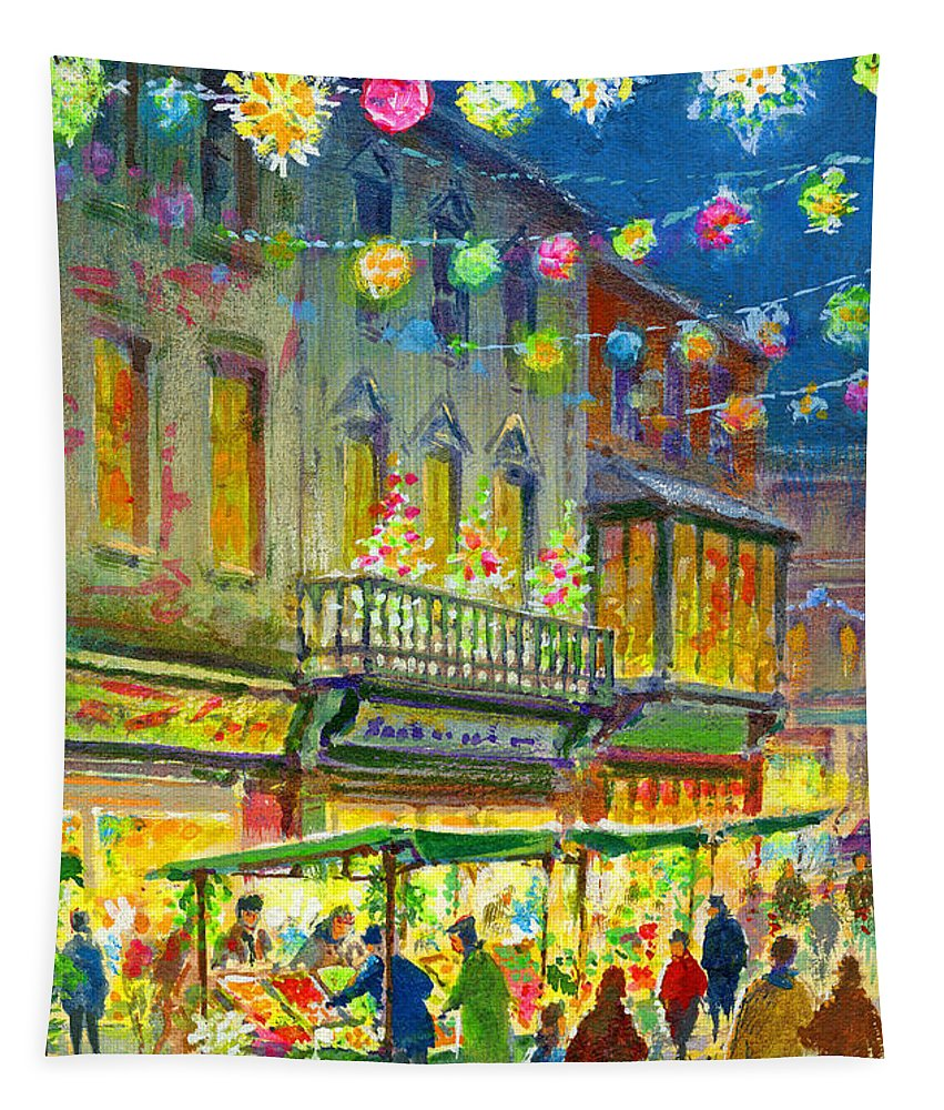 Christmas Market Tapestry featuring the painting Christmas Market by Stanley Cooke