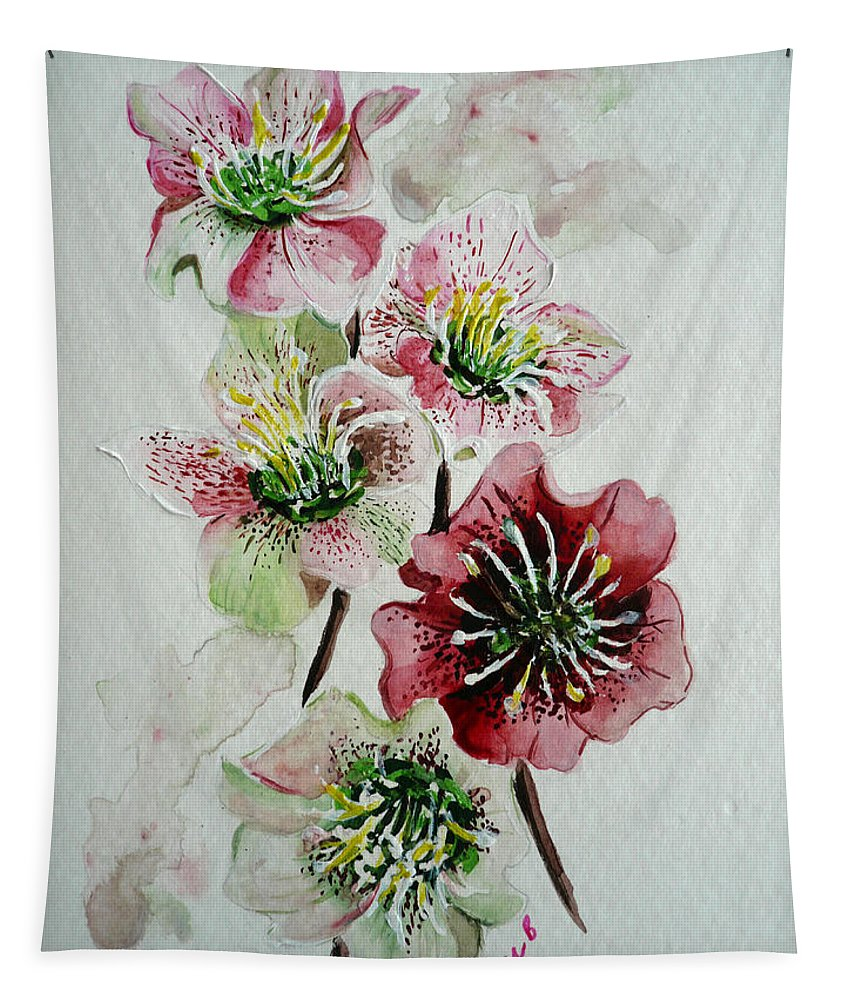 Floral Flower Pink Tapestry featuring the painting Christmas Rose by Karin Dawn Kelshall- Best