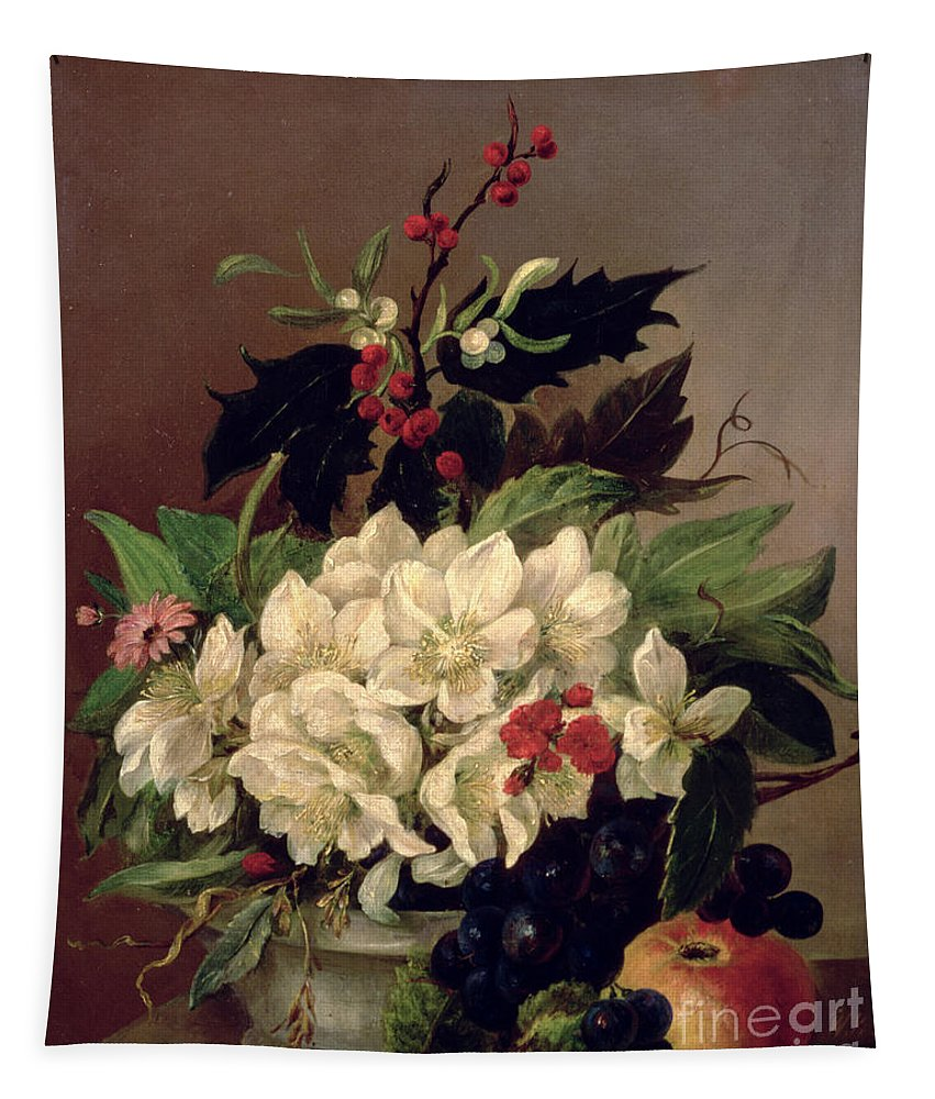 Christmas Tapestry featuring the painting Christmas Roses by Willem van Leen