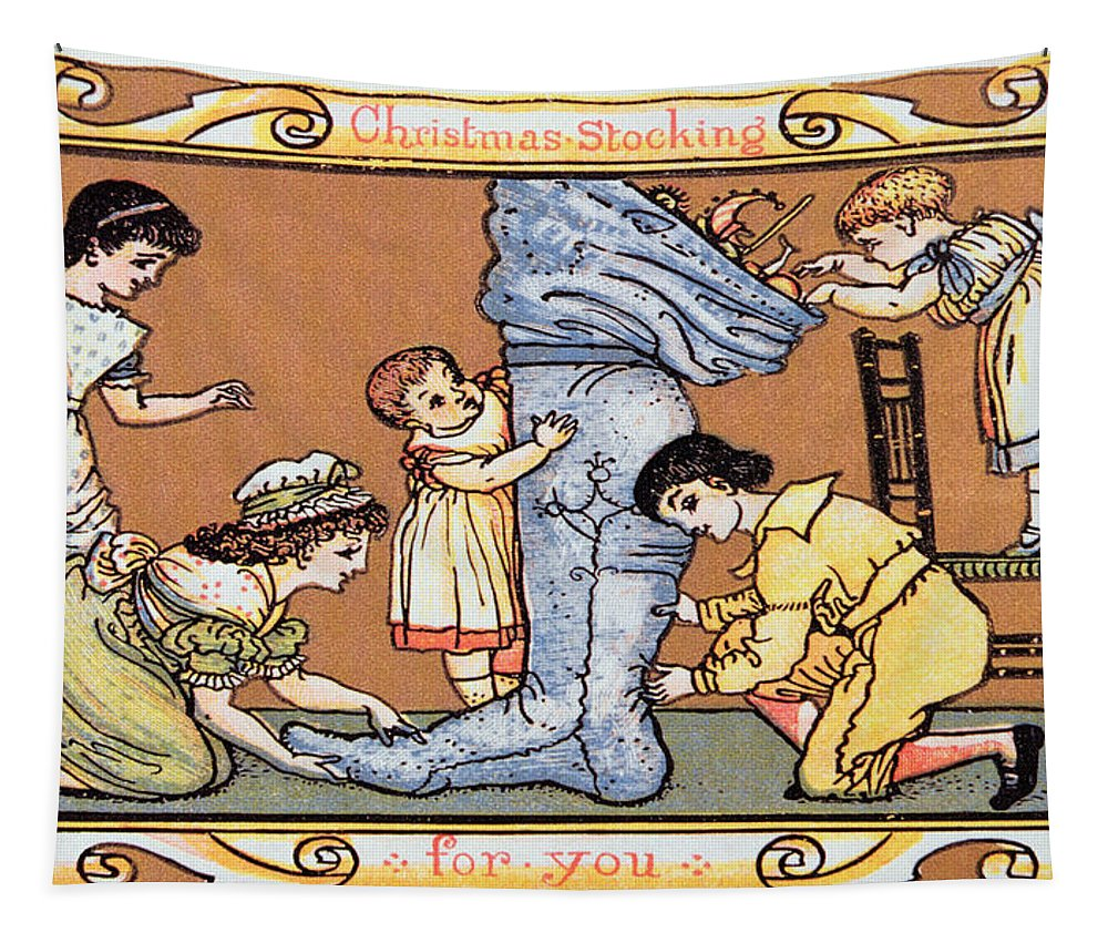 Design; Children; Opening; Excitement; Day; Morning Tapestry featuring the painting Christmas Stocking For You by English School
