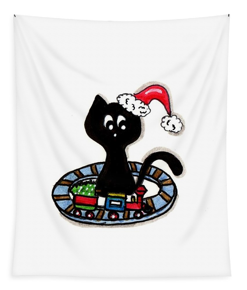 Christmas Tapestry featuring the painting Christmas Train Kitty Cat by Tambra Wilcox