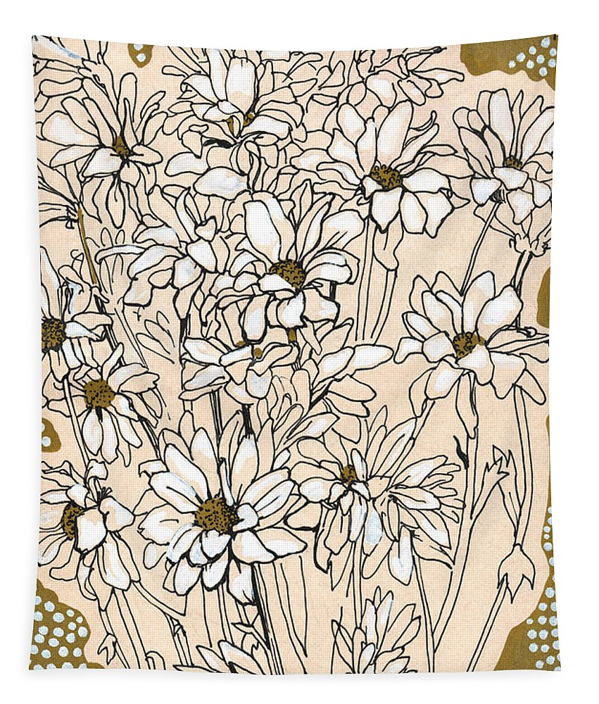 Flower Tapestry featuring the drawing Chrysanthemum, Ink Sketch by Julia Khoroshikh