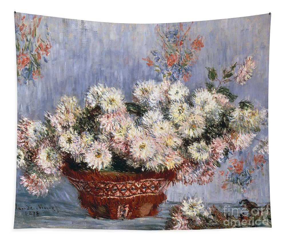 Monet.chrysanthemum Tapestry featuring the painting Chrysanthemums, 1878 by Claude Monet