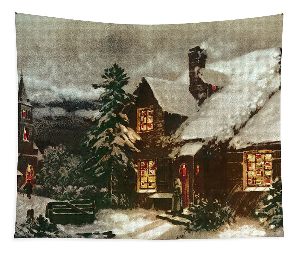 Church And Cottage With Lighted Windows Tapestry featuring the painting Church And Cottage With Lighted Windows by English School