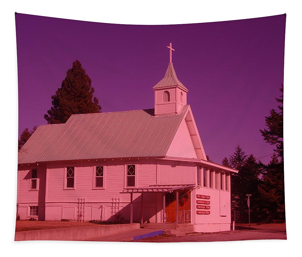 Churchs Tapestry featuring the photograph Church In Spirit Lake Idaho by Jeff Swan