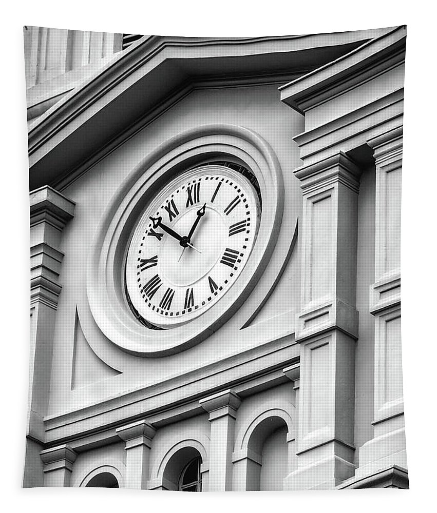 Clock Tapestry featuring the photograph Church Time - St Louis Cathedral - New Orleans by Kathleen K Parker