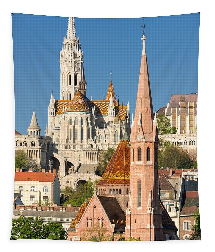 Budapest Tapestry featuring the photograph Churches In Budapest Hungary by Matthias Hauser