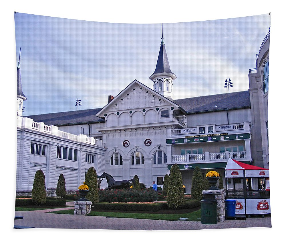 Churchill Downs Tapestry featuring the digital art Churchill Downs Paddock Area Behind The Twin Spires by Marian Bell