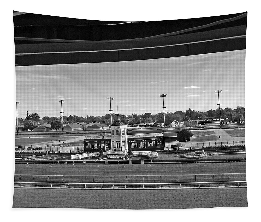 Churchill Downs Tapestry featuring the digital art Churchill Downs' Winner's Circle In Black And White by Marian Bell