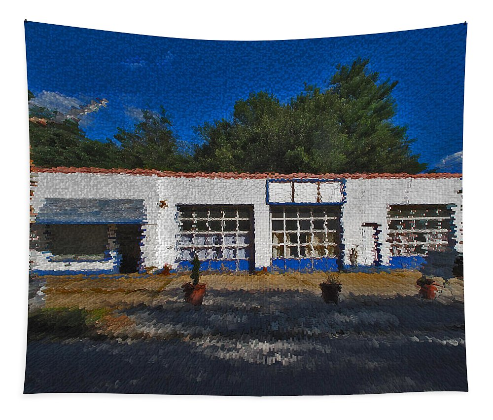 Churton Avenue Tapestry featuring the photograph Churton St Blue by David A Brown