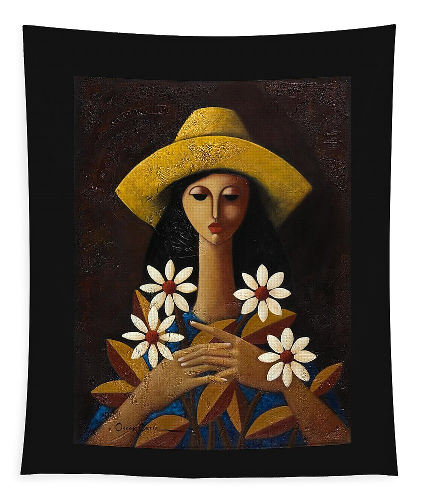 Puerto Rico Tapestry featuring the painting Cinco Margaritas by Oscar Ortiz