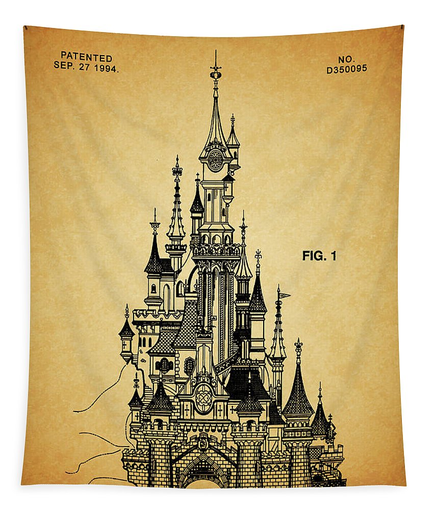 Cinderelle Castle Patent Tapestry featuring the drawing Cinderella Castle Patent by Dan Sproul