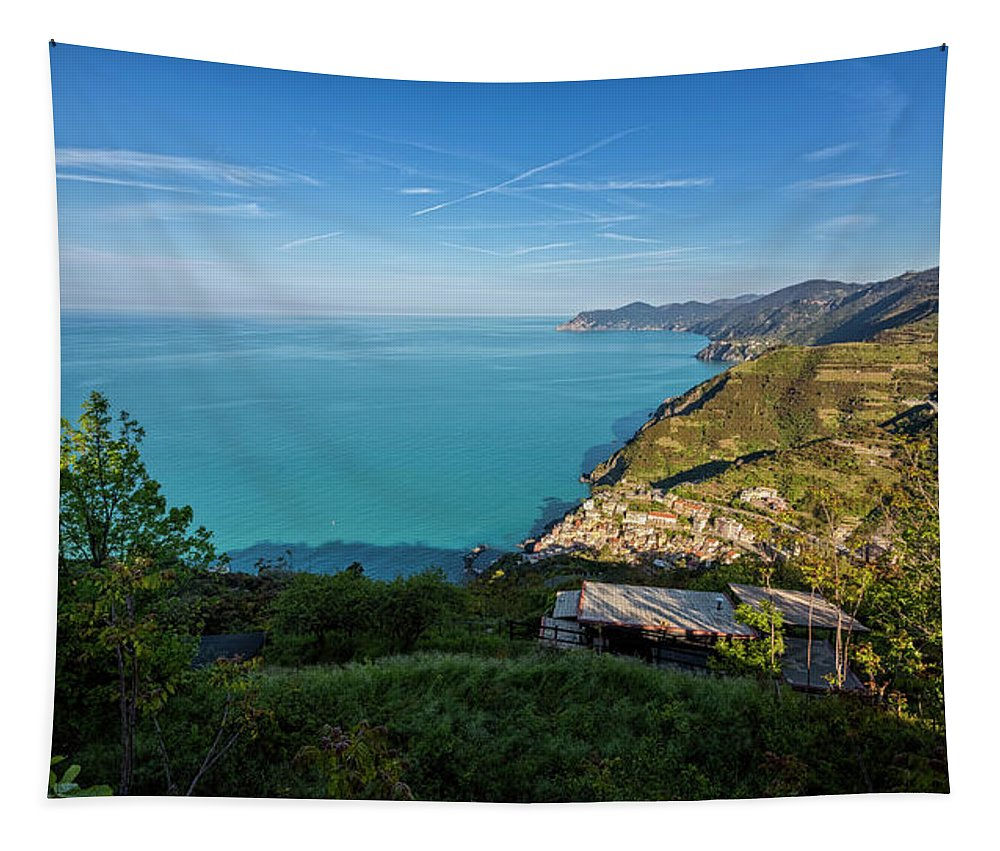 Joan Carroll Tapestry featuring the photograph Cinque Terre Panorama by Joan Carroll