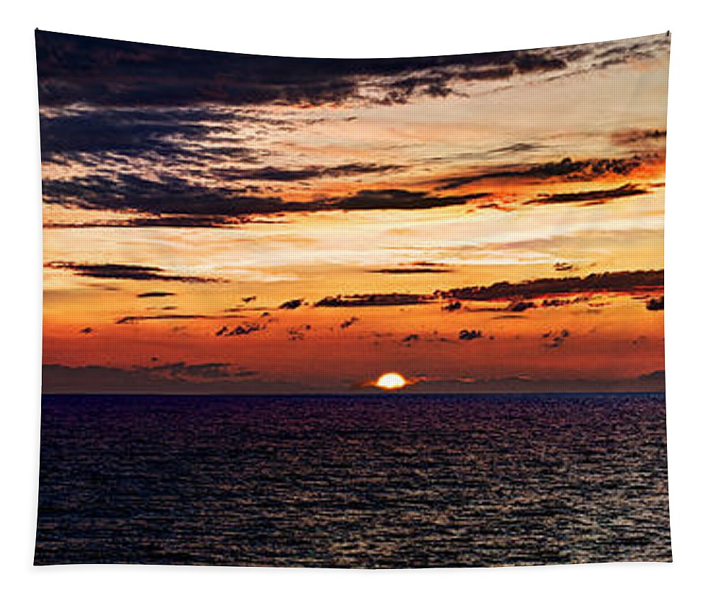 Sunset Tapestry featuring the photograph Cinque Terre - Sunset From Manarola - Panorama by Weston Westmoreland