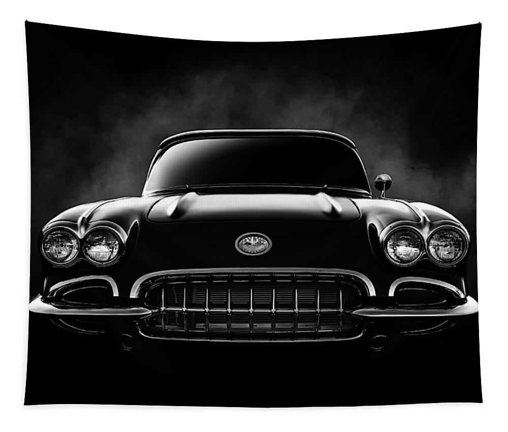 Corvette Tapestry featuring the digital art Circa '59 by Douglas Pittman
