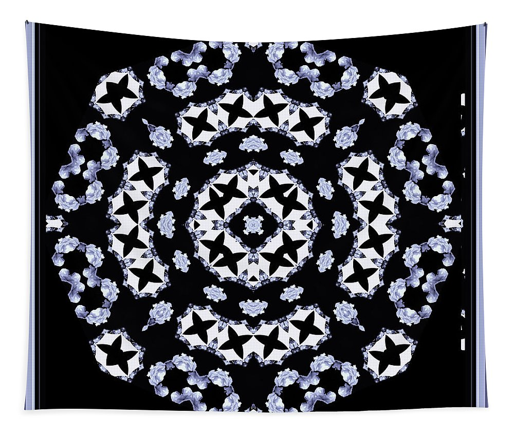 Flowers Tapestry featuring the digital art Circle Of Stars And Flowers by Debra Lynch