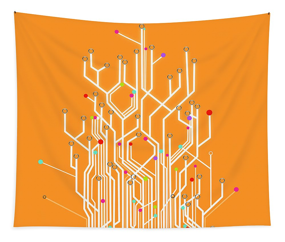 Abstract Tapestry featuring the photograph Circuit Board Graphic by Setsiri Silapasuwanchai