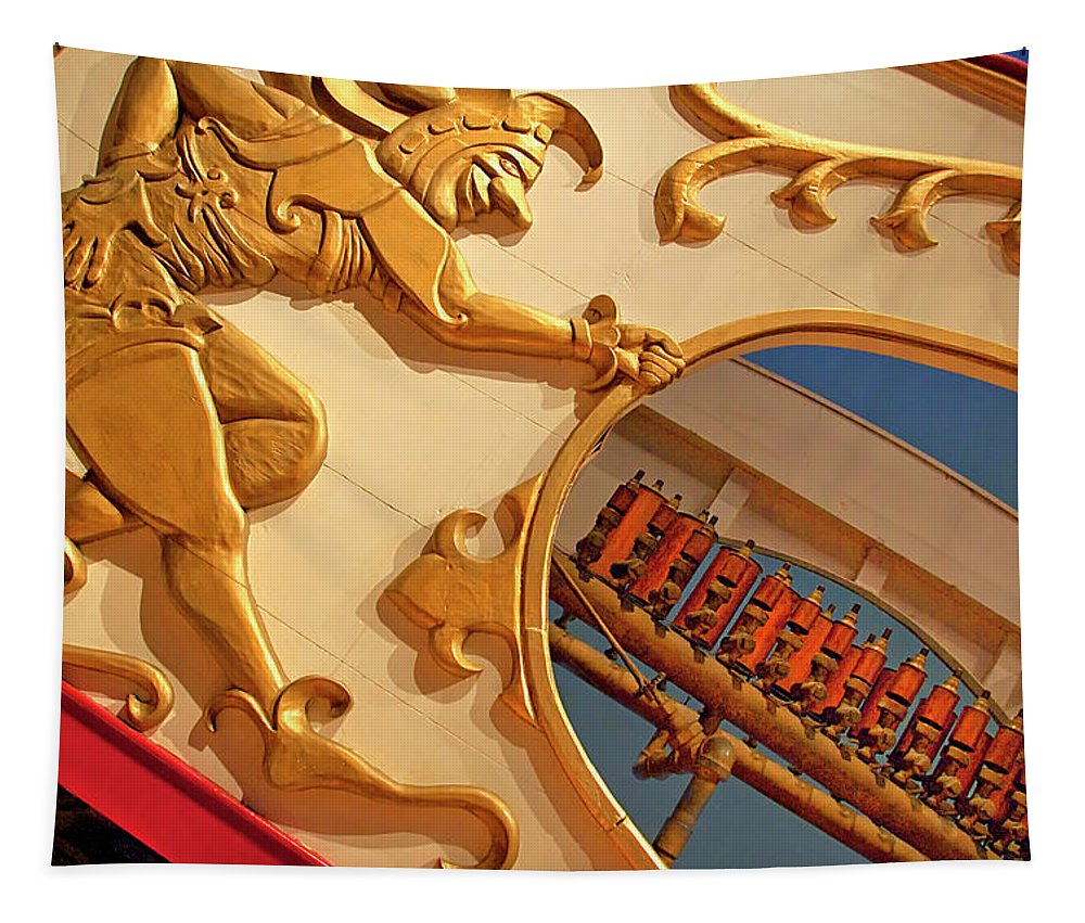 Circus Tapestry featuring the photograph Circus Calliope Wagon In Red And Gold by Mitch Spence