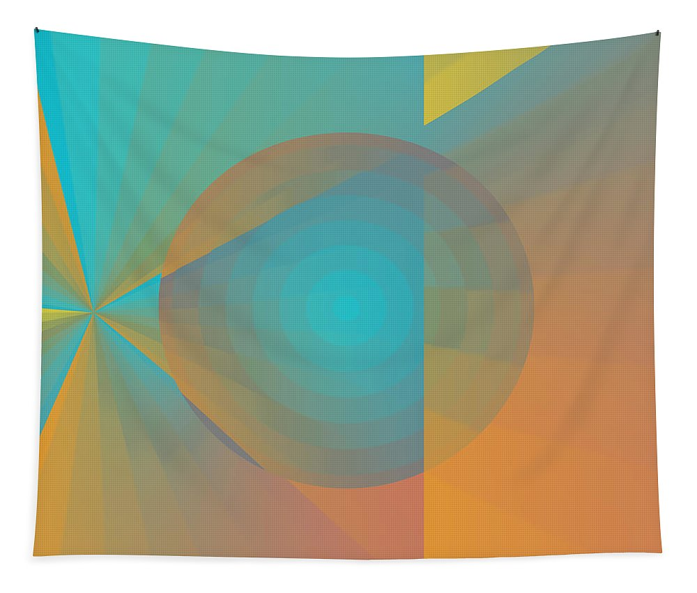 Digital Tapestry featuring the digital art Circus Orange And Blues by Joy McKenzie