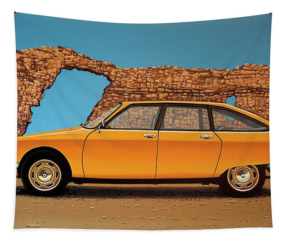 Citroen Gs Tapestry featuring the painting Citroen Gs 1970 Painting by Paul Meijering
