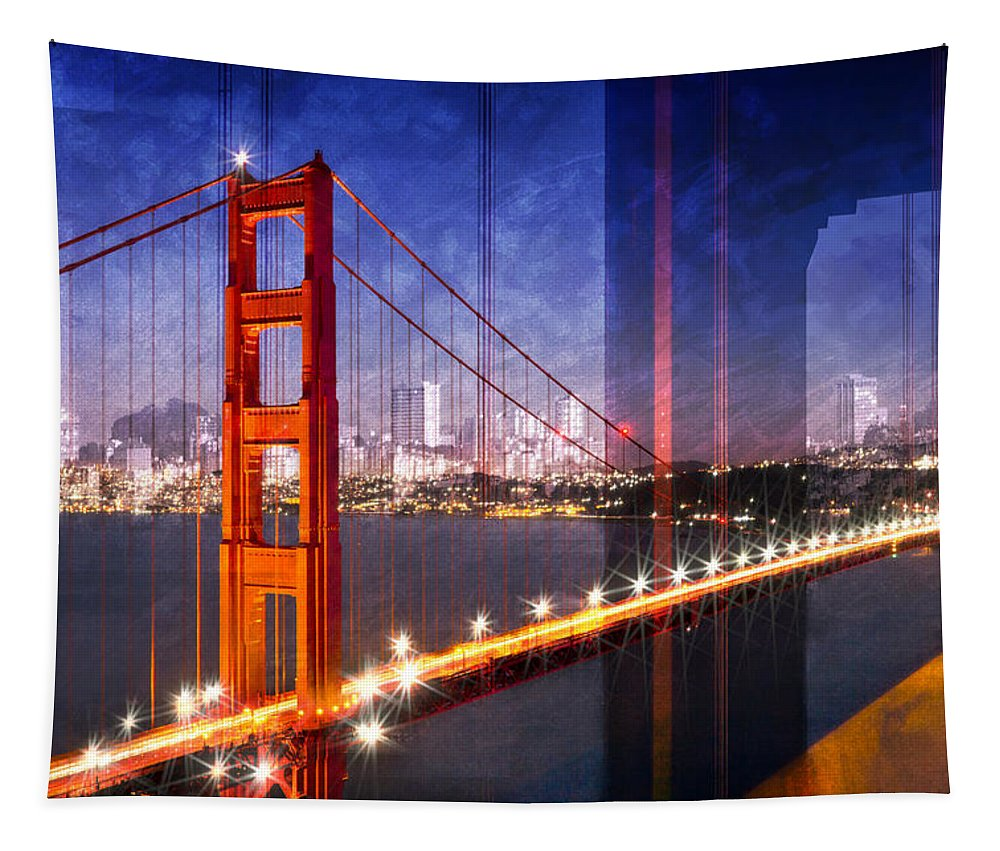 America Tapestry featuring the photograph City Art Golden Gate Bridge Composing by Melanie Viola
