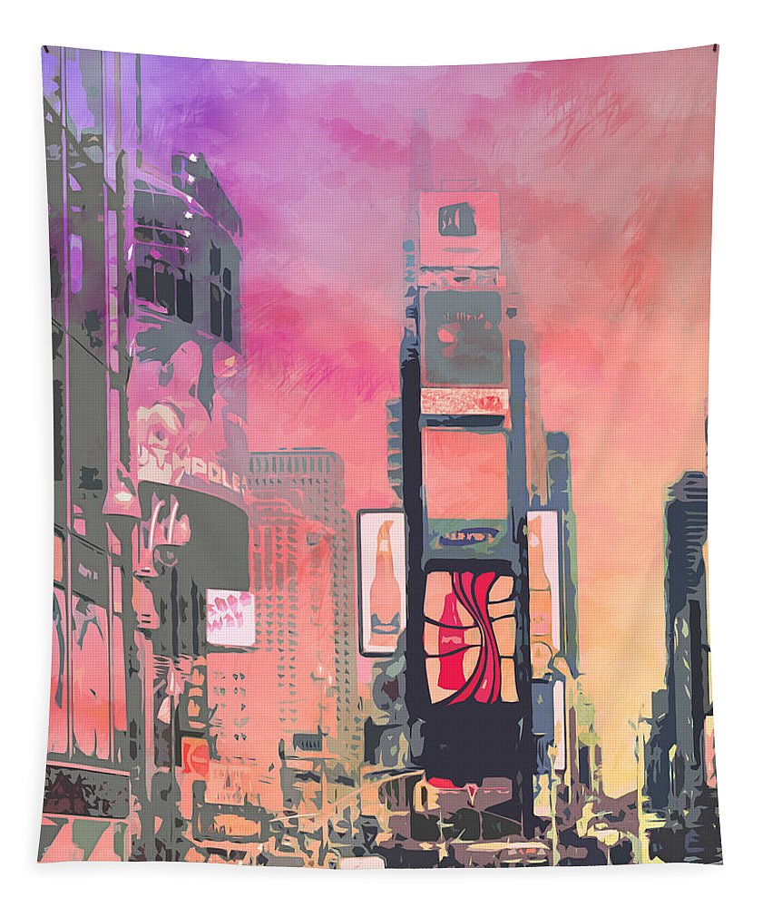 Usa Tapestry featuring the digital art City-art Ny Times Square by Melanie Viola